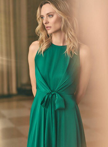 Maggy London - Tie Detail Satin Dress, Green,  dress, cocktail, satin, sleeveless, tie, round neck, pleated, midi, spring summer 2020