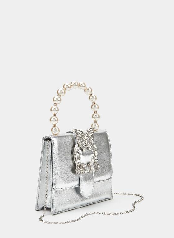 Butterfly Detail Clutch, Silver