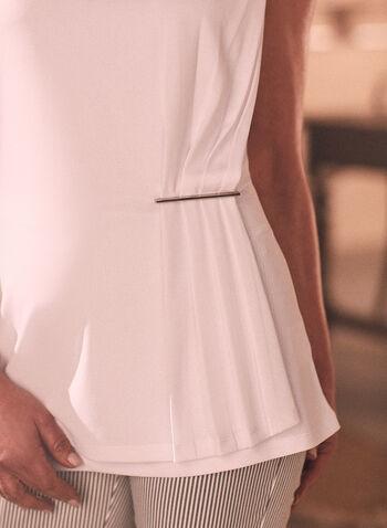 Haut sans manche à détail plissé, Blanc,  haut, top, blouse, sans manches, fait au canada, encolure dégagée, col V, plis, effet plissé, métail, printemps été 2021
