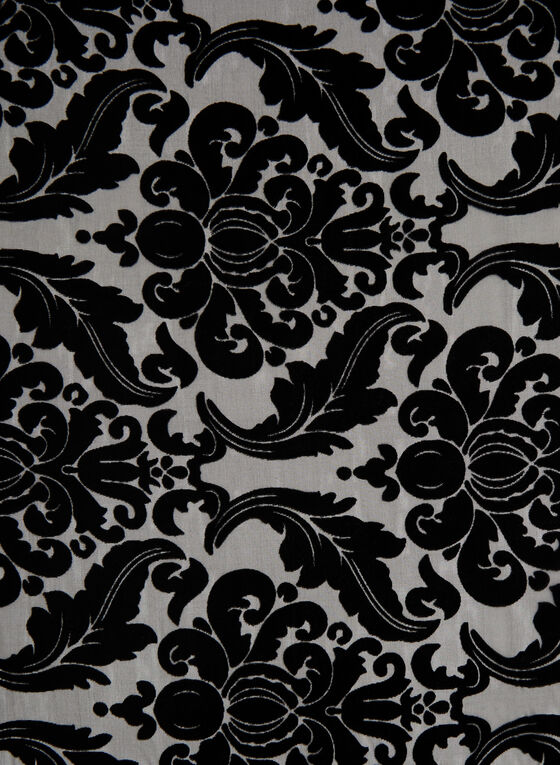 Baroque Print Velour Scarf, Black, hi-res