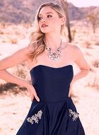Blondie Nites - Robe bustier satinée et détails pierres, Bleu, hi-res