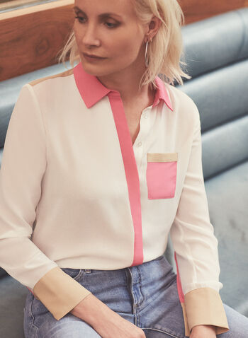 Colour-Block Crepe Blouse, Off White,  blouse, long sleeves, buttons, colour block, patch pocket, crepe, spring 2020