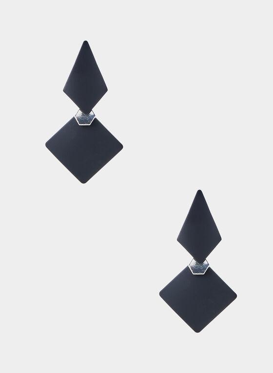 Boucles d'oreilles à pendants losanges, Noir, hi-res
