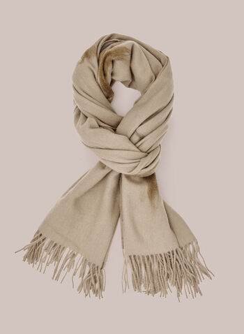 Foulard à motif coups de pinceau , Brun,  foulard, hiver, coups de pinceau, motif, franges, automne hiver 2020
