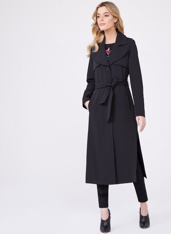 Novelti – Long Belted Gabardine Trench Coat, Black, hi-res