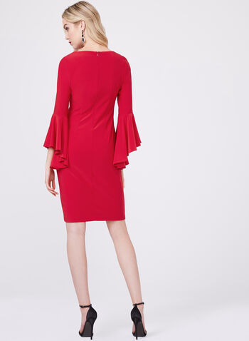 Frank Lyman - Ruffle Sleeve Sheath Dress, Red, hi-res