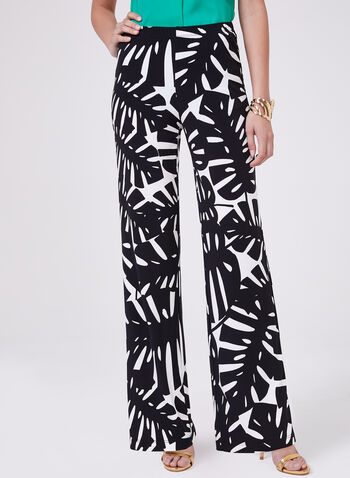 Leaf Print Wide Leg Pants, Black, hi-res