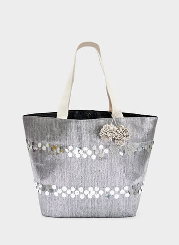 Metallic Tote Bag With Pompom Detail, Silver, hi-res