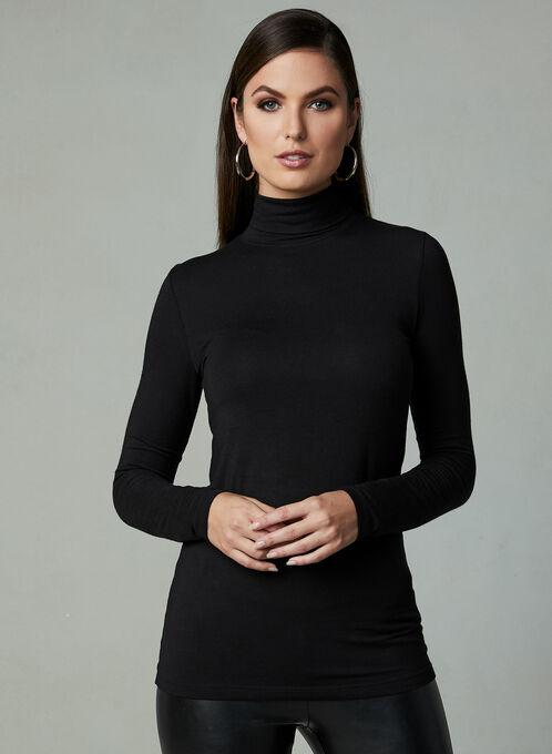 Long Sleeve Turtleneck Top, Black, hi-res