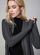 Striped Open Front Cardigan, Grey