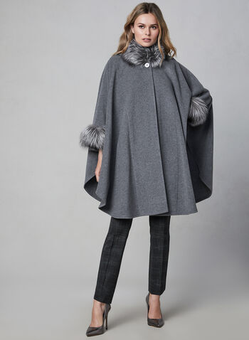 Mallia - Wool & Cashmere Blend Cape, Grey,  fall winter 2020, wool, cashmere, fox fur, outerwear, jacket, poncho