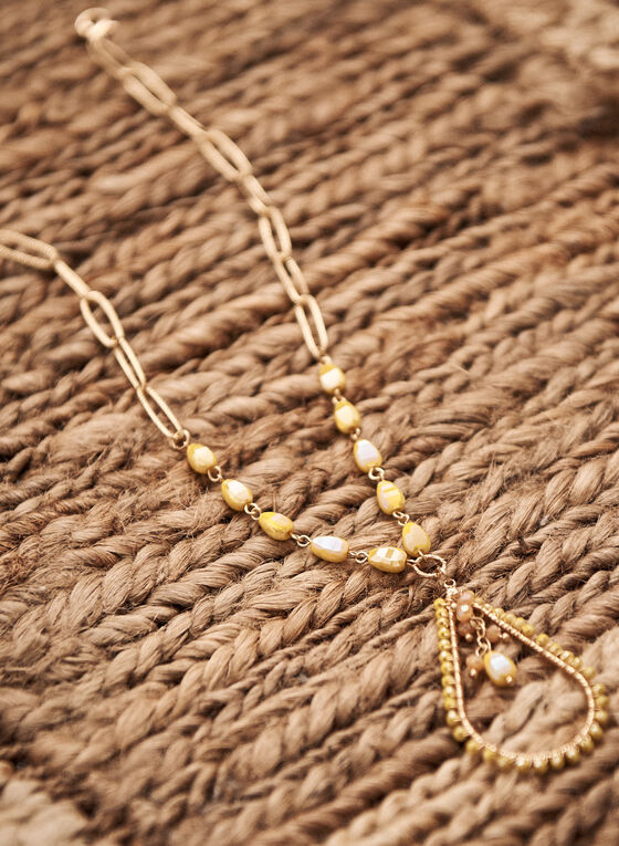 Collier en chaîne texturée à pendentif goutte, Or