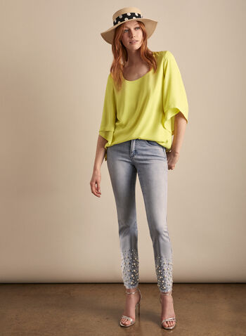 Joseph Ribkoff - Draped Sleeve Blouse, Yellow,  blouse, 3/4 sleeves, scoop neck, draped sleeves