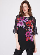 Floral Print Poncho Blouse, Multi, hi-res