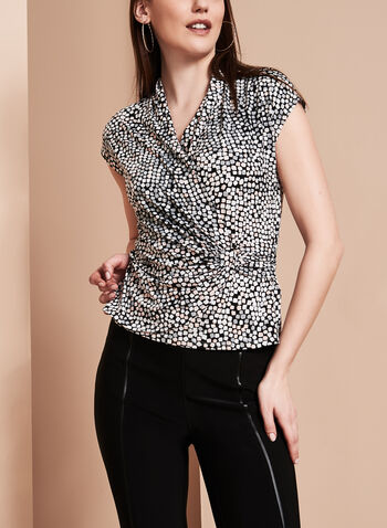 Printed Side Buckle Blouse, , hi-res