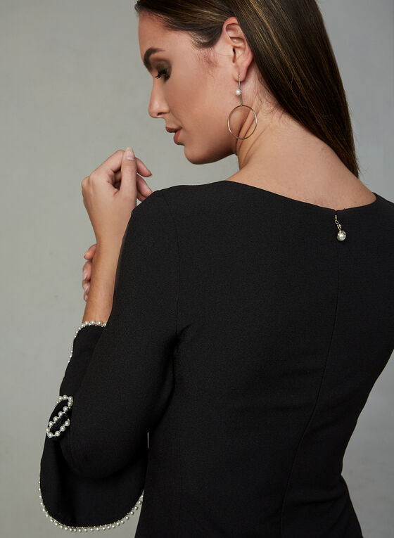Karl Lagerfeld Paris - Robe fourreau à manches perlées, Noir, hi-res