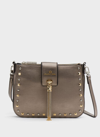 Céline Dion - Small Studded Faux-Leather Purse, Grey, hi-res