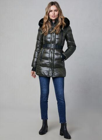 Sicily - Fur Trim Quilted Coat, Green, hi-res,  canada, winter coat, Sicily, leather, real fur, fur coat, lightweight coat, warm coat, polyfill coat,