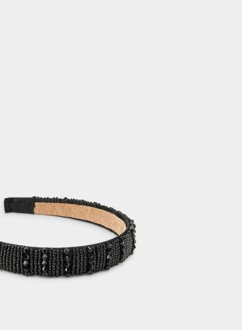 Beaded Satin Headband, Black,  beads, headband, satin, satin headband, fall 2019, winter 2019
