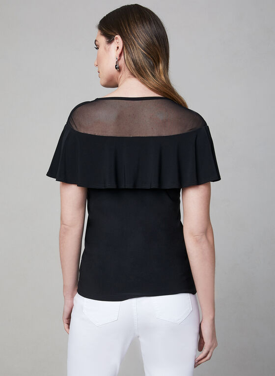 Illusion Neckline Top, Black