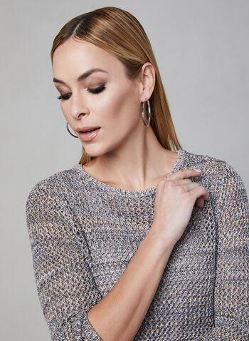 Alison Sheri - Crochet Sweater, Off White, hi-res,  crochet, sweater, open weave, 3/4 sleeves, spring 2019