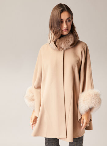 Mallia - Fur & Cashmere Blend Coat, Brown,  coat, wool, cashmere, fox fur, high neck, single button, fall winter 2020