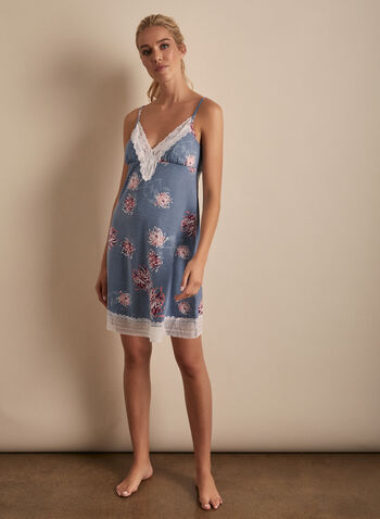 Comfort & Co. - Floral Print Lace Detail Nightgown, Blue,  sleepwear, nightgown, spaghetti straps, floral, lace, short, spring summer 2020