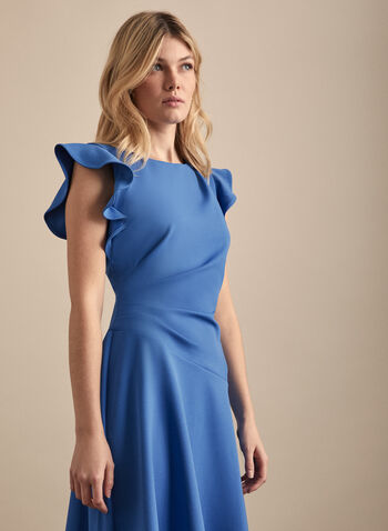 Maggy London - Ruffled Cap Sleeve Dress, Blue,  day dress, cap sleeves, ruffled, a-line, pleated, stretchy, scuba, crepe, spring summer 2020