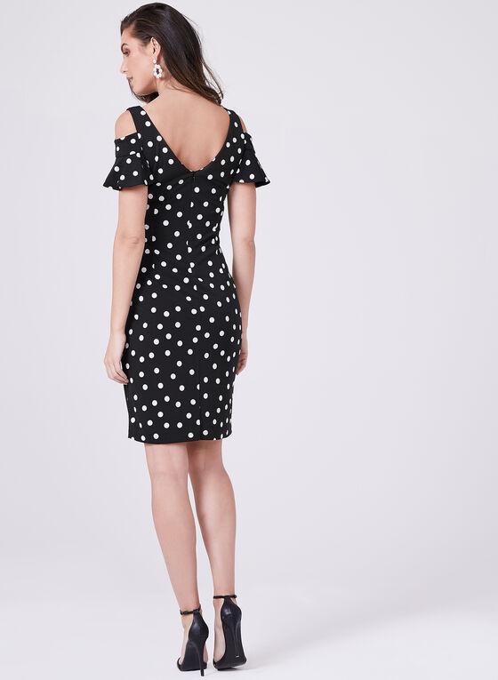 Frank Lyman – Polka Dot Cold Shoulder Dress, Black, hi-res