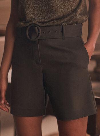 Shorts & Removable Belt, Green,  shorts, belt, pockets, cotton blend, spring summer 2020