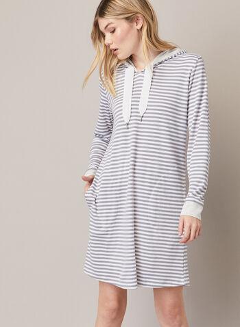 Robe de nuit à capuchon, Argent,  automne hiver 2020, robe de nuit, pyjama