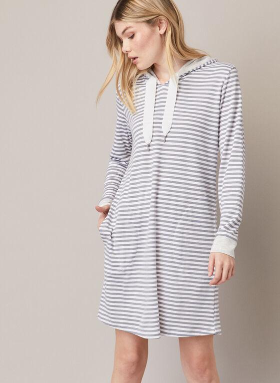Contrast Hooded Nightshirt , Silver