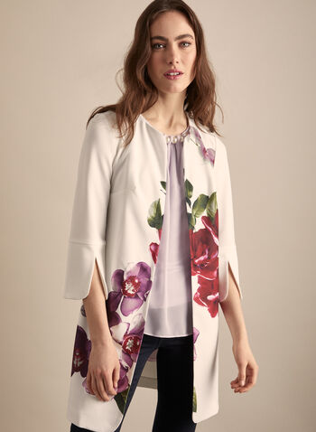 Joseph Ribkoff - Floral Open Front Redingote, White,  jacket, redingote, floral, crepe, 3/4 sleeves, stretchy, spring summer 2020