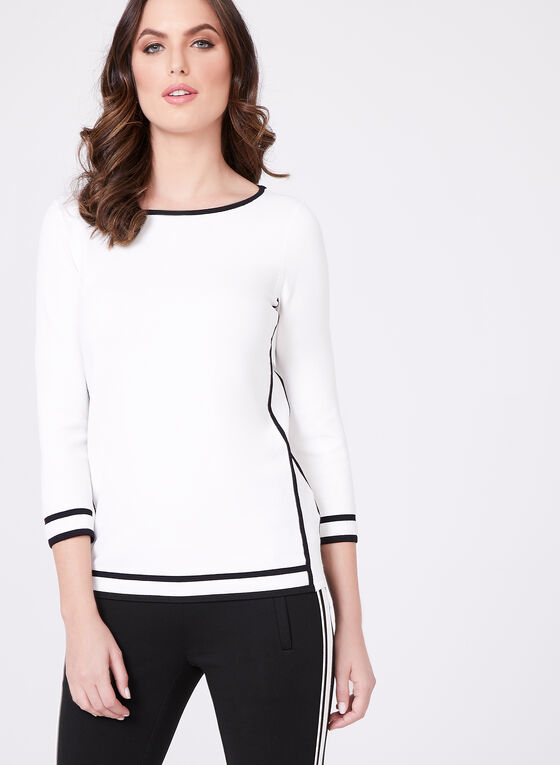 Contrasting Trim Knit Sweater, Off White, hi-res