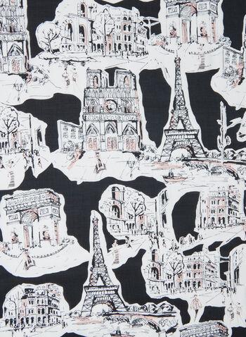 Karl Lagerfeld Paris - Paris Print Scarf, Black,  scarf, paris, modal, silk, spring summer 2020