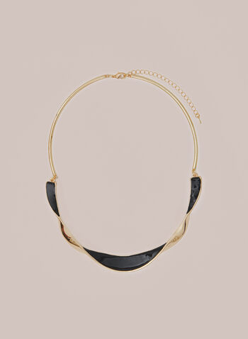 Twist Bar Necklace, Black,  necklace, rigid, metallic, golden, twist, fall winter 2020