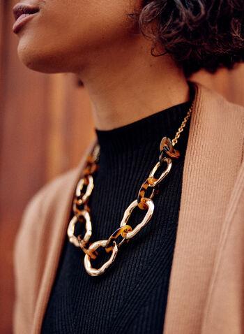 Collier court à larges maillons, Brun,  collier, accessoire, bijou, maillons larges, doré, texturés, travaillés, fermoir mousqueton, automne 2021