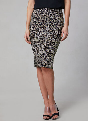 Leopard Print Pencil Skirt, Black, hi-res