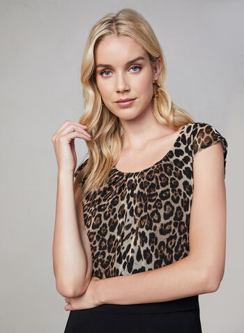 Frank Lyman - Leopard Print Dress, Black, hi-res,  fall winter 2019, mesh fabric, flutter, jersey fabric
