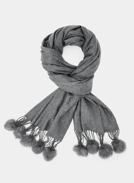 Pompom Fringe Wrap, Grey, hi-res
