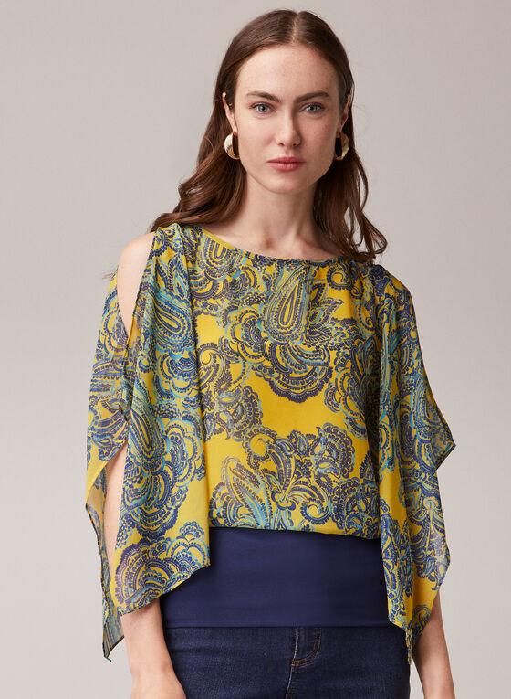 Paisley Print Kimono Blouse, Yellow