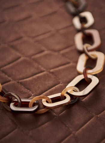 Large Link Necklace, Brown,  spring summer 2021, jewelry, jewellery, chunky, big,