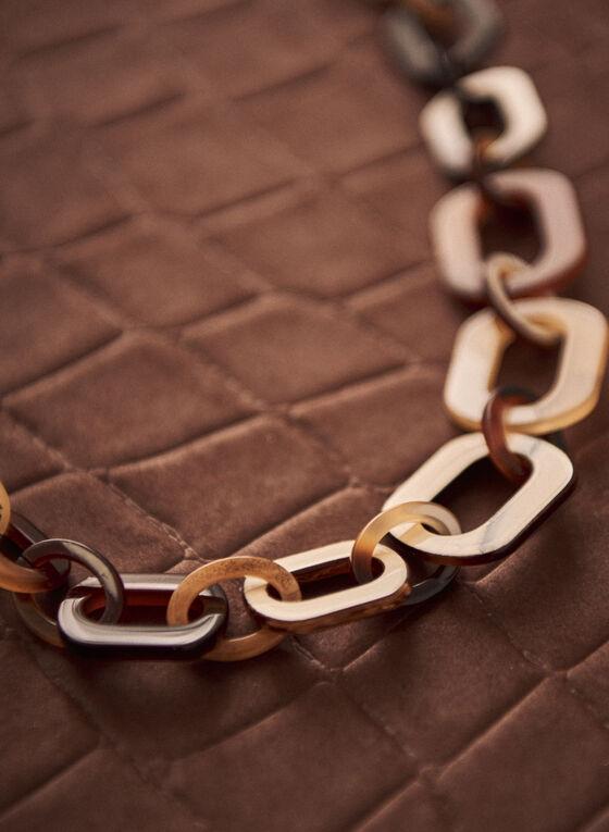 Collier à maillons ovales et cordon en cuir, Brun