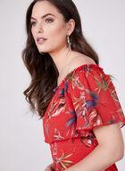 Floral Print Off The Shoulder Top, Red, hi-res