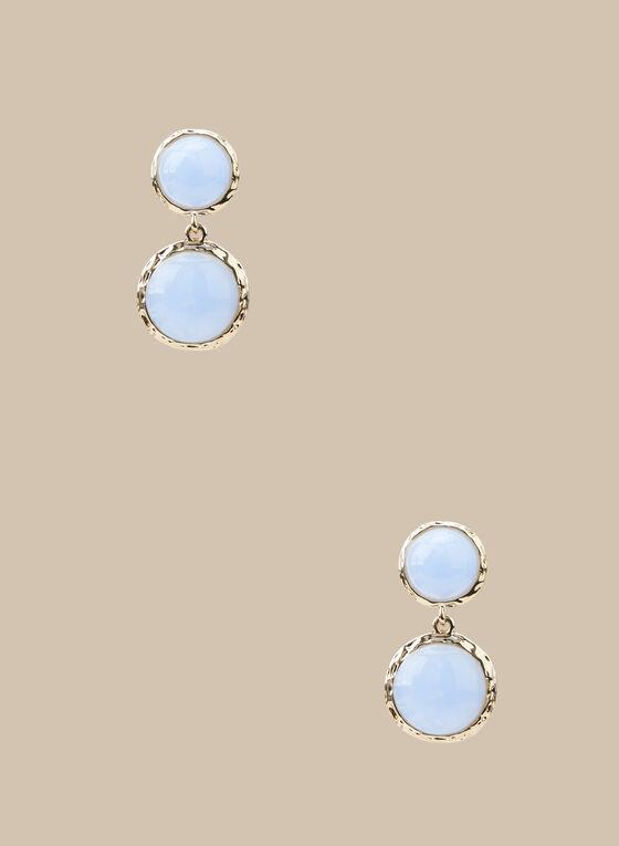 Boucles d'oreilles à pierres rondes, Bleu