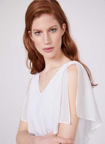 Sleeveless Flounce Collar Blouse, Off White, hi-res
