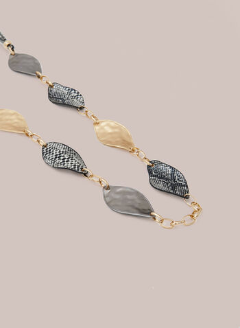 Metallic Leaf Necklace, Grey,  fall winter 2020, necklace, metallic, animal print, corded, jewellery, accessories