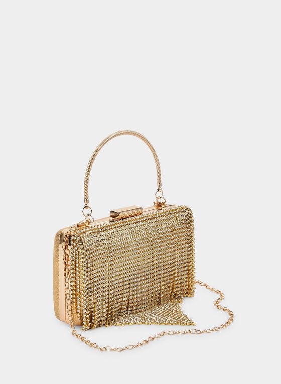 Cascading Crystal Handbag, Gold