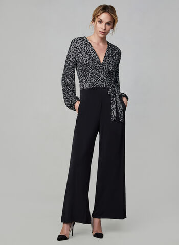 Maggy London - Animal Print Jumpsuit, White, hi-res,  jumpsuit, wide leg, long sleeves, animal print, print, comfortable, stretchy, v-neck, wrap, jersey, fall 2019, winter 2019