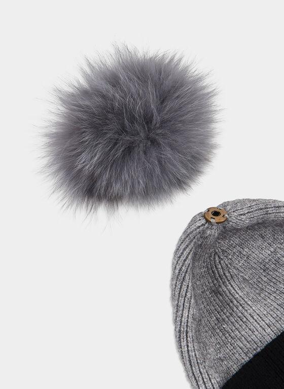Bonnet à pompon de fourrure amovible, Gris, hi-res